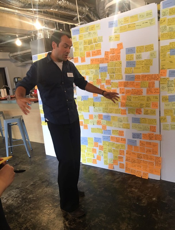 Jero standing in front of hundreds of post-its
