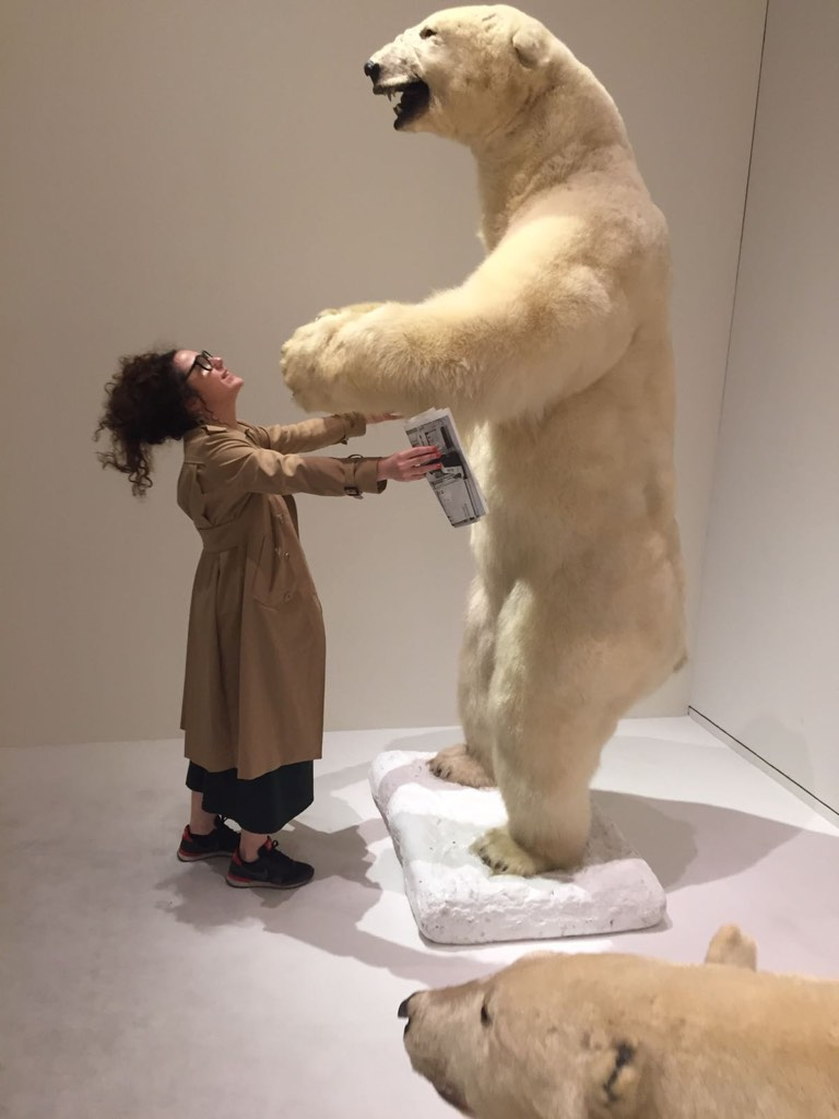 Alex in front of a polar bear in a museum