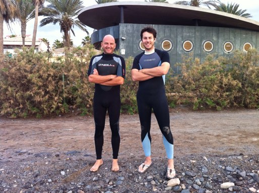 Juan and Carlos in wetsuits