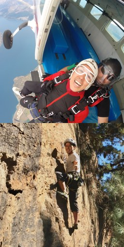 Two images: Julio jumping off a plane and rock climbing