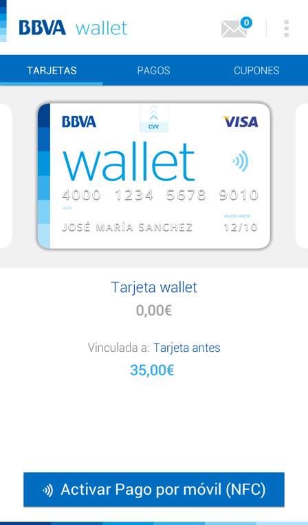 8BBVA Wallet App first version screenshots